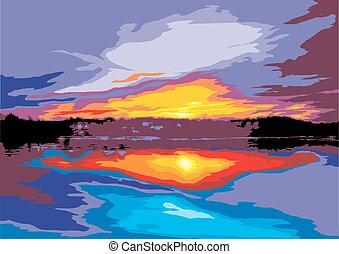 sun set on the sea