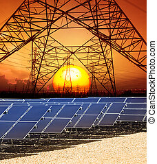 sun set with structure of high voltage electric power tower ...