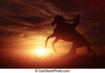 Sun Setting on a Peaceful Farm with horse
