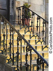 Sun setting on beautiful old staircase - Old staircase in...