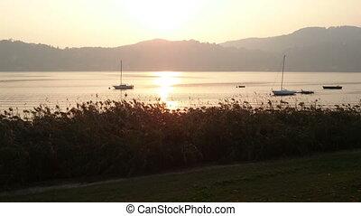 Sun setting on lake Como, Italy