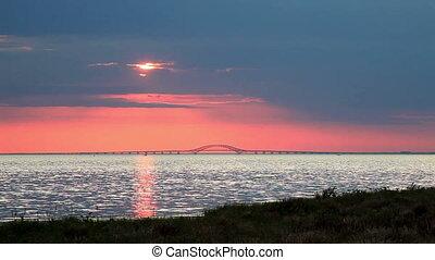 Sun Setting Over Bridge