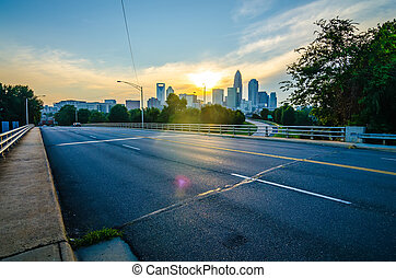 sun setting over charlotte north carolina a major metropolitan city in the south