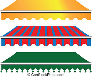 Sun Shade Awning in three versions. Vector illustration.