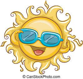 Illustration of the Sun Wearing Sunglasses