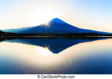 Sun shine and inverted Mount Fuji