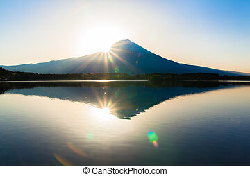 Sun shine and inverted Mount Fuji