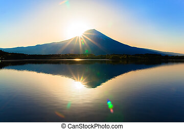 Sun shine and inverted Mt Fuji - Sun shine and inverted...