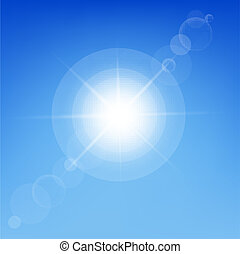 Sun Shine In Blue Sky, Vector Illustration