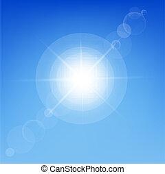 Sun Shine In Blue Sky, Vector Illustration
