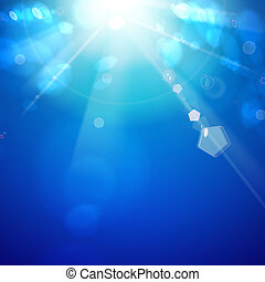 Sun shine rays with bokeh over white sky. illustration.