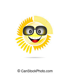 sun shine with sunglasses illustration