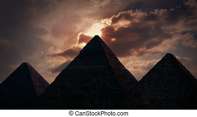 Sun Shines Out From Above Pyramid - Sun appears from behind...
