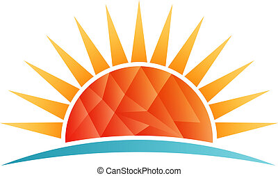 Sun shining at beach, low poly vector logo