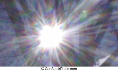 Retro video of bright sun in blue sky shining through bare tree branches, shot circa 1980