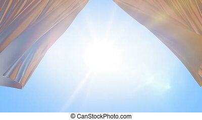 Sun Shining Through the Light Silky Curtains Waving in the Wind. 3d Animation of the Sun Rays Passing Through the Curtains. 4k Ultra HD 3840x2160