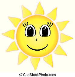 Sun Shining with Happy Face
