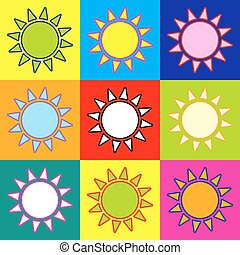 Sun sign. Pop-art style colorful icons set with 3 colors.