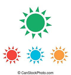 Sun sign. Colorfull set isolated on white background