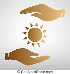Sun sign Golden Effect. - Sun sign. Save or protect symbol...