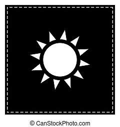 Sun sign illustration. Black patch on white background. Isolated