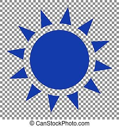 Sun sign illustration. Blue icon on transparent background.