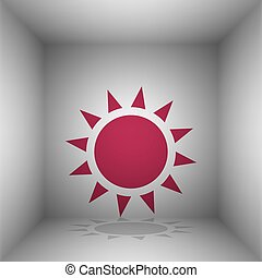 Sun sign illustration. Bordo icon with shadow in the room.