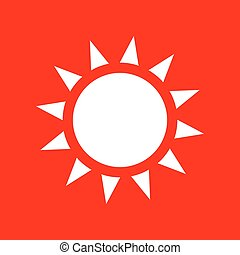 Sun sign illustration. White icon on red background.