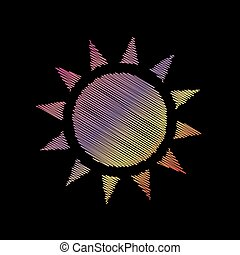 Sun sign illustration. Coloful chalk effect on black backgound.