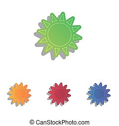 Sun sign illustration. Colorfull applique icons set.