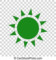 Sun sign illustration. Dark green icon on transparent background.