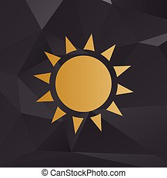Sun sign illustration. Golden style on background with polygons.