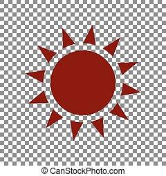 Sun sign illustration. Maroon icon on transparent background.