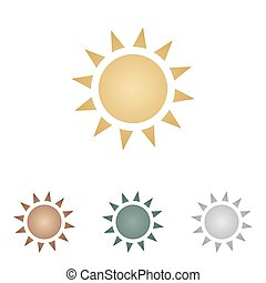 Sun sign illustration. Metal icons on white backgound.