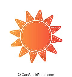 Sun sign illustration. Orange applique isolated.