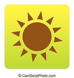 Sun sign illustration. Vector. Brown icon at green-yellow gradient square with rounded corners on white background. Isolated.