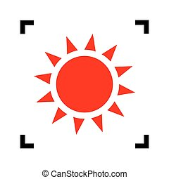 Sun sign illustration. Vector. Red icon inside black focus...