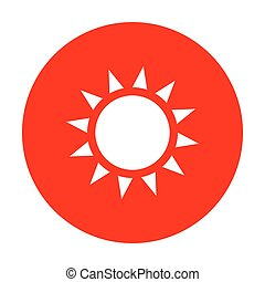 Sun sign illustration. White icon on red circle.