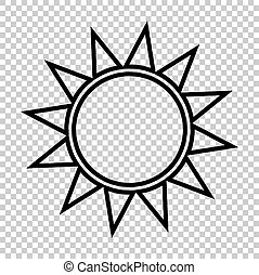 Sun sign. Line icon on transparent background