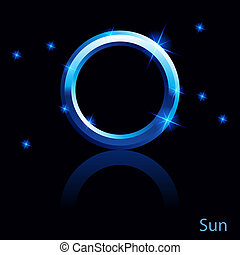 Sun sign. - Shiny blue Sun sign on black background.