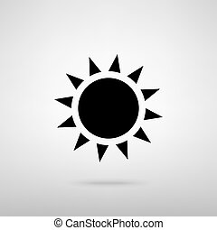 Sun sign. Vector illustration - Sun sign. Black with shadow...