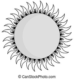 sun silhouette on white background, vector illustration
