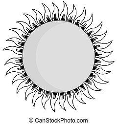 sun silhouette on white background, vector illustration