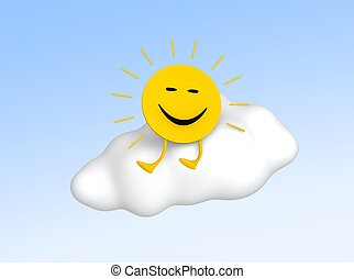 Sun sitting on cloud. 3d rendered illustration.
