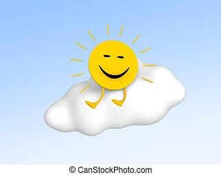 Sun sitting on cloud. 3d rendered illustration.