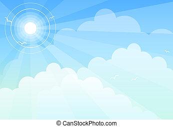 Sun sky cloud - Sun halo in blue sky with light cloud