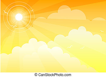 Sun Sky Clouds - A yellow sun in an orange sky with clouds...