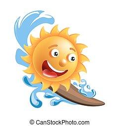 Sun smile cartoon emoticon summer ocean surfing emoji face vector icon