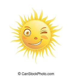 Sun smile winking cartoon emoticon summer emoji face vector icon