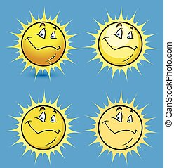 Sun Smiley Vector Set